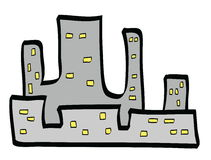 Doodle city buildings Royalty Free Stock Photo