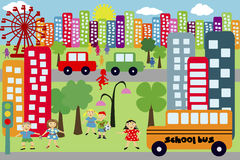 Doodle city for children Royalty Free Stock Photos