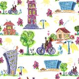 Doodle city colored seamless pattern Royalty Free Stock Photography