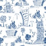 Doodle city seamless pattern Stock Photos
