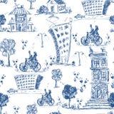 Doodle city seamless pattern Stock Photos