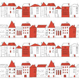 Doodle city seamless pattern in white and red colors. Royalty Free Stock Photo