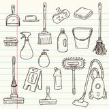 Doodle cleaning tools. Set  on vintage paper background royalty free illustration