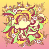 Doodle cloud bird with arrows and spring flowers Royalty Free Stock Images
