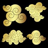 Golden Japanese cloud tattoo design vector. Doodle cloud vector on white background.Drawing cloud for tattoo Royalty Free Stock Photo