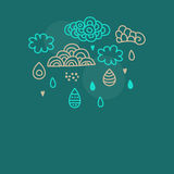Doodle clouds and rain Royalty Free Stock Photos