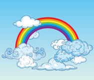 Doodle Clouds and rainbow, Hand Drawn Vector Royalty Free Stock Photos