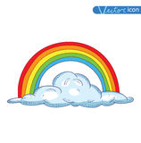 Doodle Clouds and rainbow, Hand Drawn Vector Royalty Free Stock Images