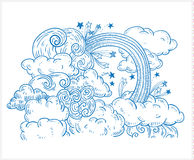 Doodle Clouds and rainbow, Hand Drawn Vector Stock Images
