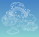 Doodle Clouds and rainbow, Hand Drawn Vector Royalty Free Stock Image