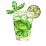 Doodle cocktail with mint and lime Stock Image