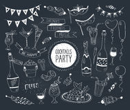 Doodle cocktails. Cocktails party doodle set. Hand drawn beverages icons  on white background. Doodle food and drinks. Beverages, glass, bottles, fruits, snacks Stock Photography