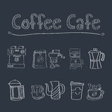 Doodle Coffee cafe set Royalty Free Stock Photo