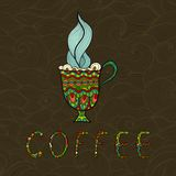 Doodle coffee cup on patterned background. Vector Stock Images
