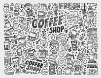 Doodle coffee element background Stock Photo