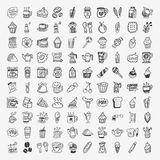 100 doodle coffee element icons set. Cartoon vector illustration vector illustration
