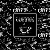 Doodle coffee frame or background ,hand drawn lettering Stock Photo