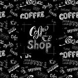 Doodle coffee frame or background ,hand drawn lettering Royalty Free Stock Photo
