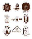 Doodle Coffee Logos Set Royalty Free Stock Photography