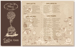 Doodle Coffee Restaurant Menu Template Stock Images