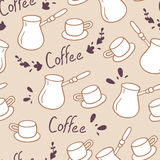 Doodle coffee seamless pattern with lettering.Hand drawn backgrond Royalty Free Stock Photography