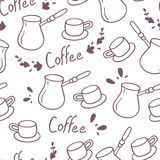 Doodle coffee seamless pattern with lettering.Hand drawn background Royalty Free Stock Photo