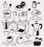 Doodle coffee set Royalty Free Stock Image