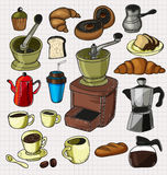 Doodle coffee set Stock Images