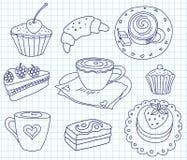 Doodle coffee set Stock Image