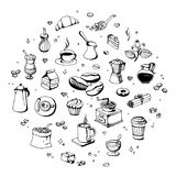 Doodle coffee shop icons. Vector outline coffee and tea drawings for cafe menu.  Stock Photos
