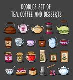 Doodle collection of colored sketches of teapots, cups, tea. Doodle collection of colored sketches of teapots, cups, tea, coffee and desserts. Vector vector illustration