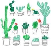 Doodle collection of cute potted cactuses Royalty Free Stock Photography