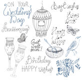 Doodle collection with text and elements for holiday card design Royalty Free Stock Image