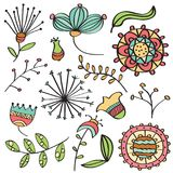 Doodle color flowers and leafs collection Royalty Free Stock Photos