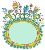 Doodle color frame with birds and flowers Stock Photo