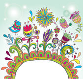 Doodle color frame with birds and flowers Stock Image