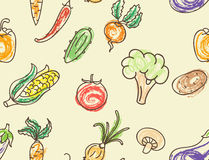 Doodle color vegetables seamless pattern Royalty Free Stock Photos