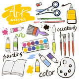 Doodle colored art materials collection. Hand drawn art icons set. Vector Illustration. Doodle colored art materials collection. Hand drawn art icons set Royalty Free Stock Photography
