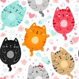 Doodle colored cats seamless pattern vector illustration