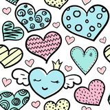 Doodle colored hearts seamless pattern vector illustration