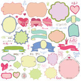 Doodle colored  labels,badges,decor element.Love Royalty Free Stock Photo