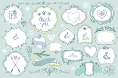 Doodle colored  labels, badges,frame,decor element Winter set Royalty Free Stock Photos