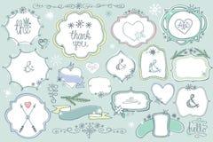 Doodle colored  labels, badges,frame,decor element Winter set. Colored Doodles labels,badges,frame,arrow,snowflakes,love decor elements set.For design templates Royalty Free Stock Photos