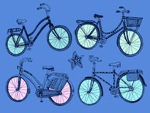 Doodle colorful bicycle set. Vector hand drawn stylish colorful bicycle set. Editable isolated objects Royalty Free Stock Photo