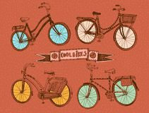 Doodle colorful bicycle set. Vector hand drawn stylish colorful bicycle set. Editable isolated objects Royalty Free Stock Image