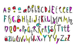 Doodle colorful kids alphabet. Hand drawn letters and figures decorated with colored floral and ethnic style elements. For kids books, posters, postcard stock illustration