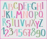 Doodle colorful kids font. Doodle colorful kids alphabet, hand drawn letters and figures decorated with colored floral and ethnic style elements. For kids books stock illustration