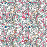 Doodle colorful pastel floral hand draw seamless pattern Stock Photo
