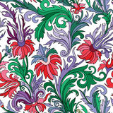 Doodle colorful pastel floral hand draw seamless pattern Royalty Free Stock Photo