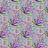 Doodle colorful pattern with flowers in vector. Zentangle coloring page. Creative seamless  background for textile, wrapping paper. Or coloring book Stock Photo